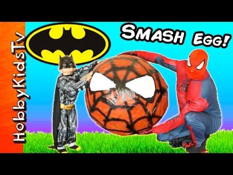 Biggest SPIDER-MAN SURPRISE Egg! Batman Toys Battle, Silly String Fight HobbyKidsTV