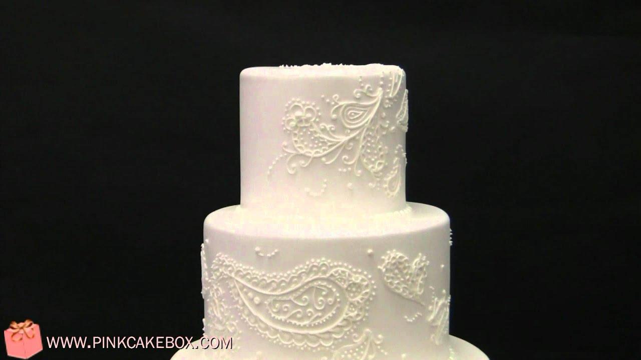 White Paisley Wedding Cake Wedding Cakes By Pink Cake
