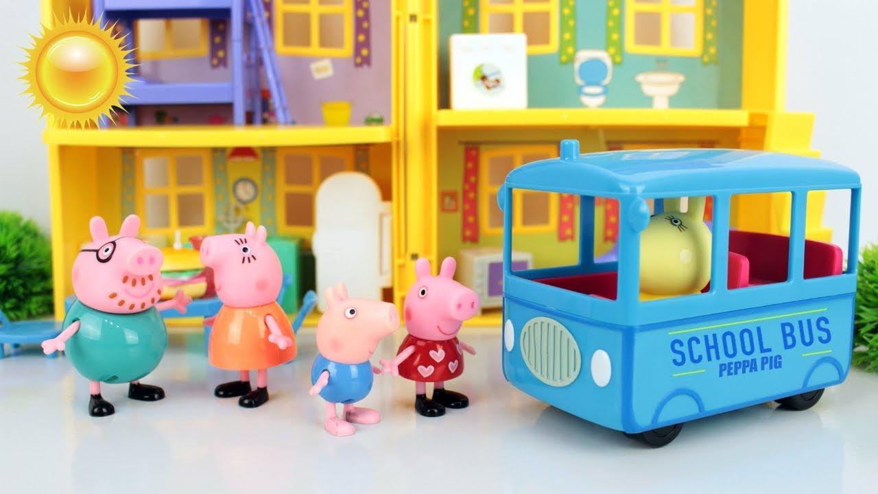 Peppa e George volta as aulas. Peppa Pig Português Brasil.Vídeos educativos com brinquedos.