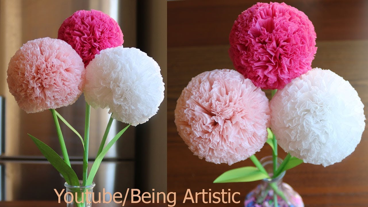 How To Make Round Tissue Paper Flower Diy Paper Craft
