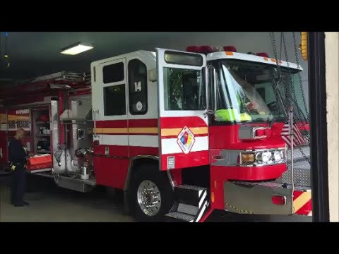 Broward County Sheriffs Office Fire & Rescue Engine 14 Inside Of Their Fire  Station In Florida