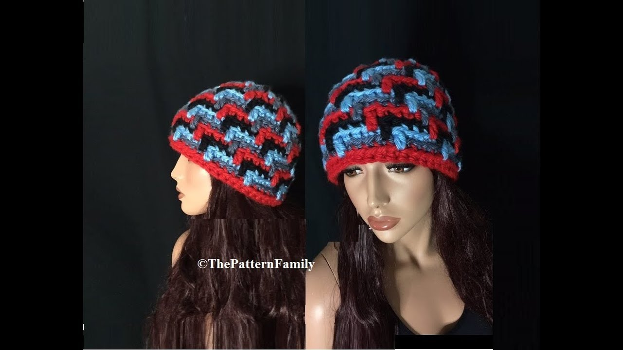 How to Crochet a 3D Beanie Hat Pattern  536│by ThePatternFamily ... cd0cf1ca4e1