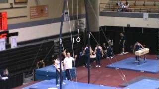 David Frankl on Rings at  the Region 7 Gymnastics championship at West Point  .MPG