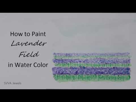 How to Paint Lavender Field in Watercolor; Easy and No-pre Drawing