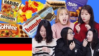 Korean Girls Taste German snacks / Food [Korean Bros]