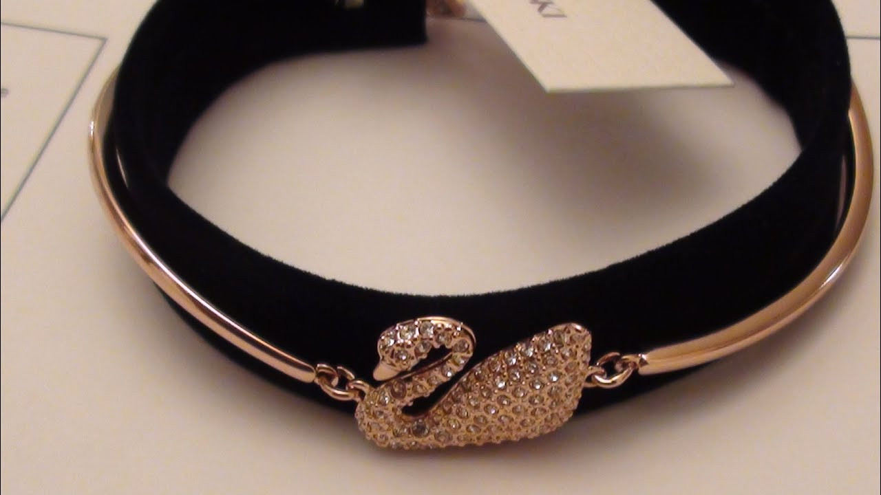 Swarovski Crystal Rose Gold Tone Swan Bangle Bracelet