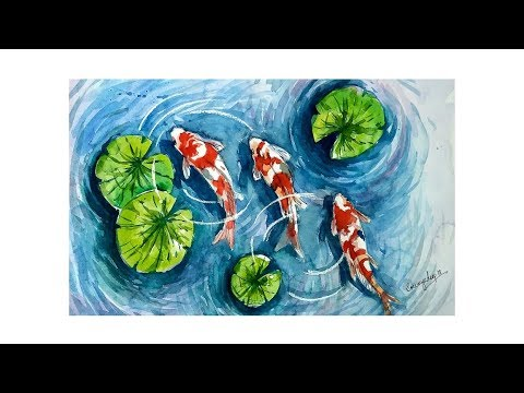 HOW TO PAINT KOI FISH POND   WATERCOLOR TUTORIAL  