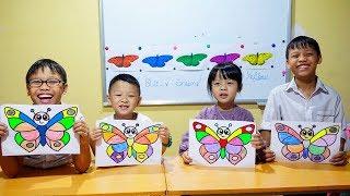 Hunter Kids Go To School Learn Colors Glitter Butterfly | Classroom Funny Nursery Rhymes