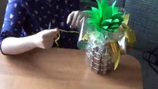 Сладкий подарок из конфет 'Ананас' ♥Бутылочка шампанского, конфеты♥ на заказ