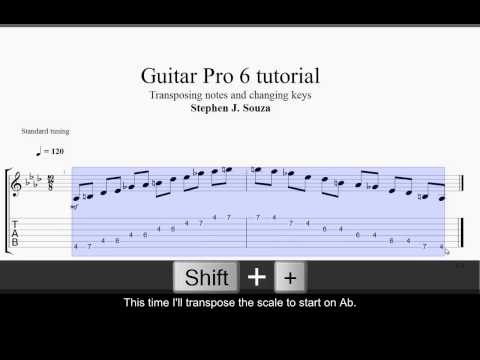Transposing notes and changing keys.using Guitar Pro 6 software
