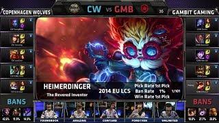 Copenhagen Wolves vs Gambit Gaming   Season 4 EU LCS Spring 2014 Super Week W11D1 G5   CW vs GMB