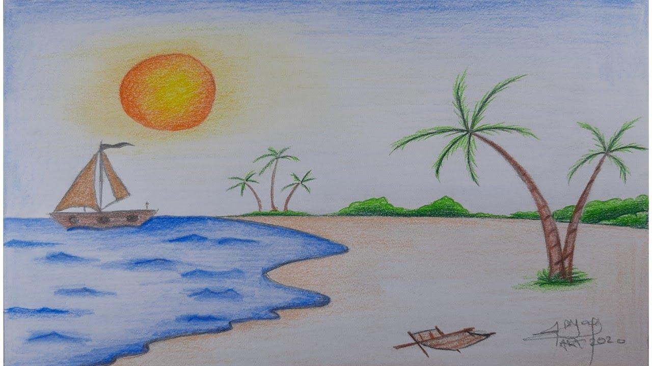 رسم شاطئ البحر منظر طبيعي How To Draw A Sea Beach Scenery Youtube