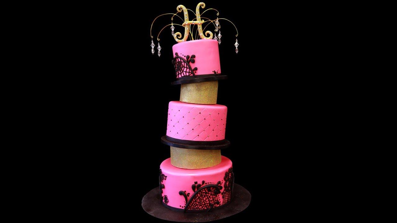Hot Pink Topsy Turvy Bat Mitzvah Cake Youtube