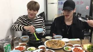 Taemin eating with Jonghyun Shinee & take care of staf