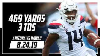 Khalil Tate Full Highlights Arizona vs Hawaii | 469 Total Yards, 3 TDs | 8.24.19