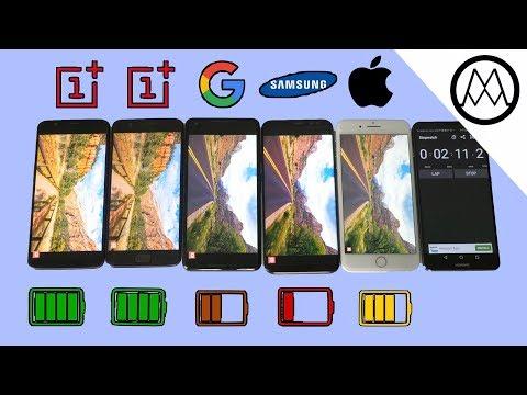 Oneplus 5T vs Pixel 2 XL vs S8 vs iPhone 8 Battery life Drain Test!