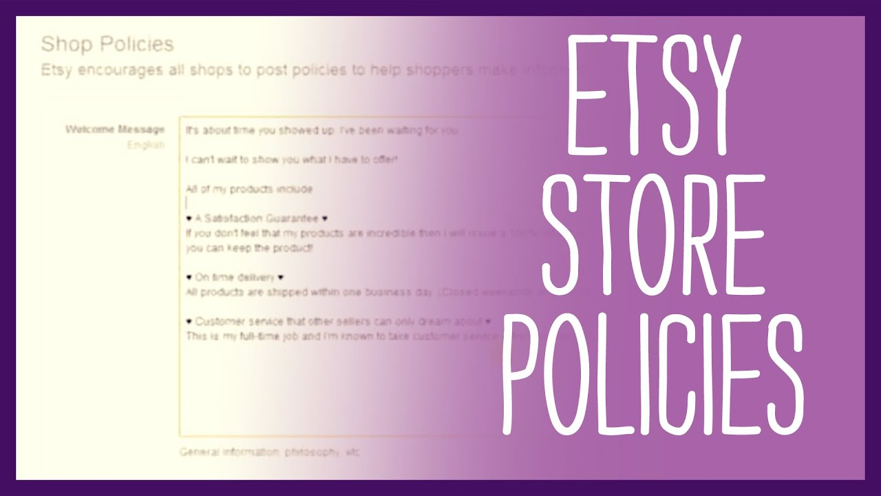 etsy shop how to set up etsy store policies updated