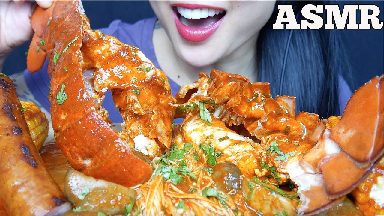 ASMR 5LB LOBSTER TAIL SAUSAGE OYSTER MUSHROOM SEAFOOD SAUCE (EATING SOUND) NO TALKING | SAS-ASMR