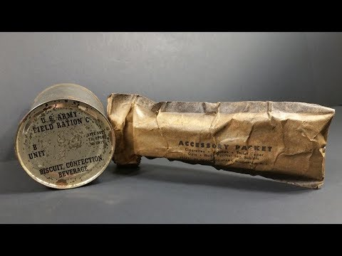 1944 US Army Field Ration C Breakfast B Unit & Accessory Packet Review MRE Taste Test Unboxing