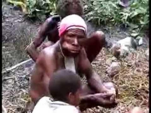 Irian Jaya- Papua People cooking pig.