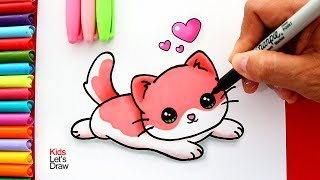 Aprende a dibujar un GATITO BEBÉ Kawaii (color rosado) | Learn to Draw a Cute Baby Kitten