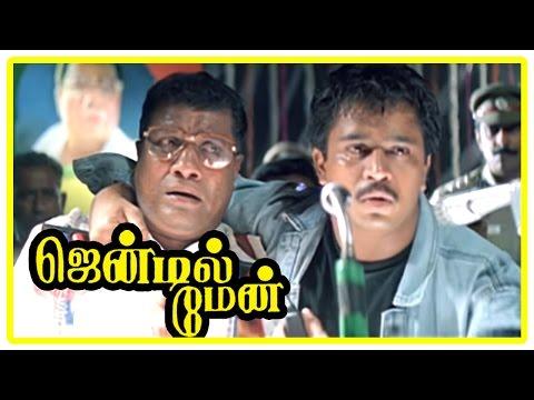 Gentleman Movie Scenes   Arjun is arrested   Goundamani   Rajan P Dev   Charan Raj   Madhoo