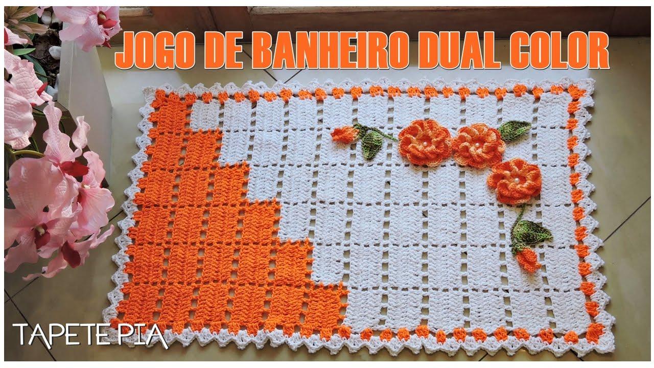 JOGO DE BANHEIRO DUAL COLOR TAPETE PIADIANE GONÇALVES  YouTube -> Kit Para Pia De Banheiro Inox