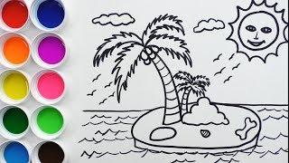 Cómo Dibujar y Colorear Una Isla - Dibujos Para Niños - How To Draw Island / FunKeep
