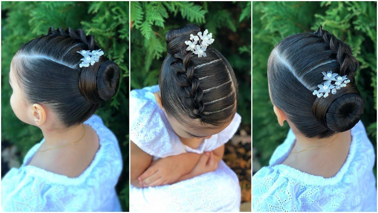 Peinado Elegante Para Niñas Con Trenza Pull Through Y Chongo Recogido Elegante Facil Y Bonito Lph