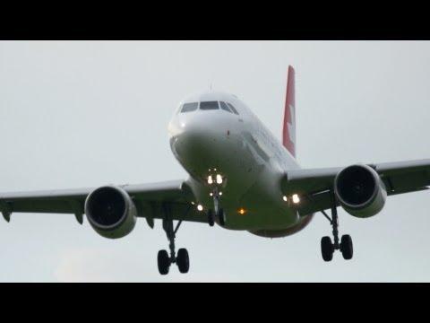 Helvetic Airways A319 Landing at Airport Bern-Belp - FIRST VISIT