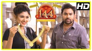 144 movie scenes | oviya intro | shiva and oviya decide to loot madhusudhan's jewellery shop