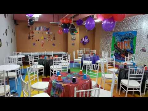 Rock star birthday theme setup.