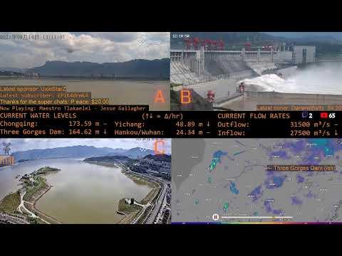 3GD / Three Gorges Dam Live Multicam + Radar 1080P - 166m - Spillway has opened