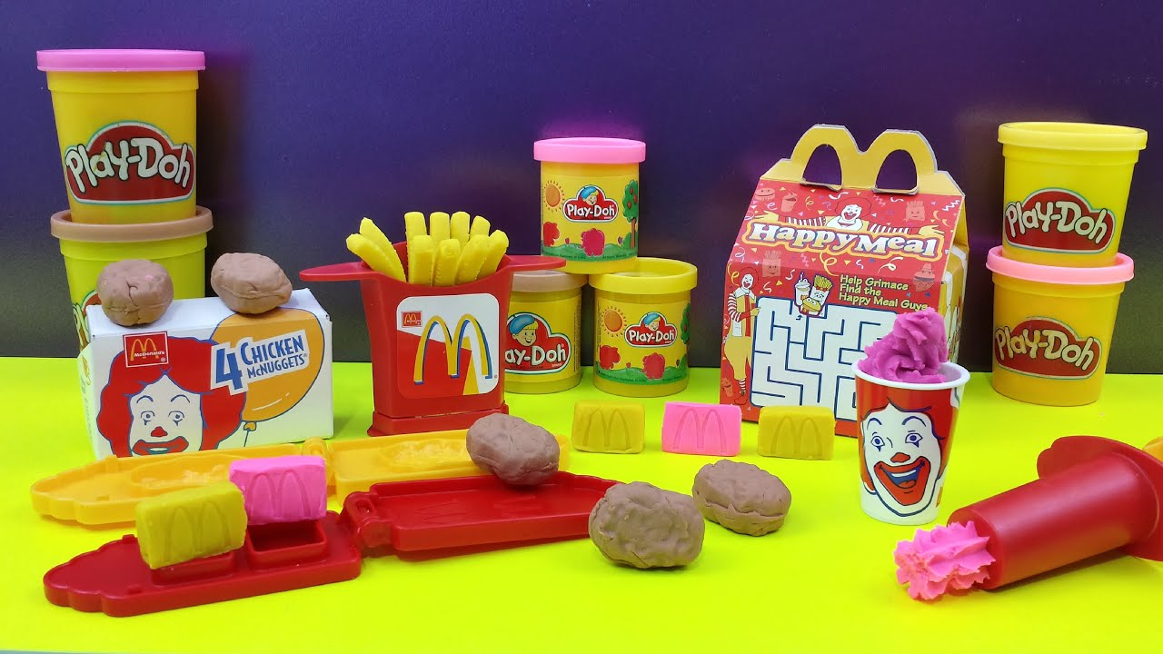 Play doh mcdonald 39 s chicken mcnuggets happy meal playshop for Happy playsets