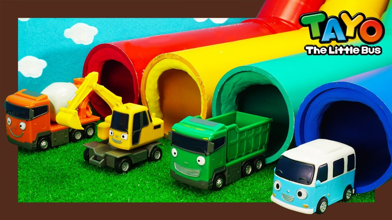 Rainbow slides and Strong Heavy Vehicls l Tayo Heroes 3 l Vehicles for Kids l Tayo the Little Bus