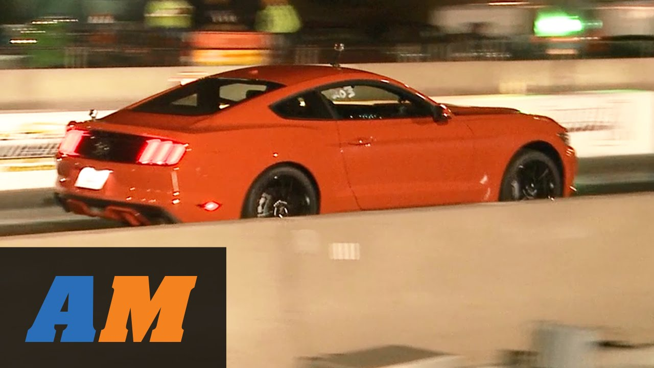 2015 mustang ecoboost stock 1 4 mile vs 2014 mustang v6 drag race youtube