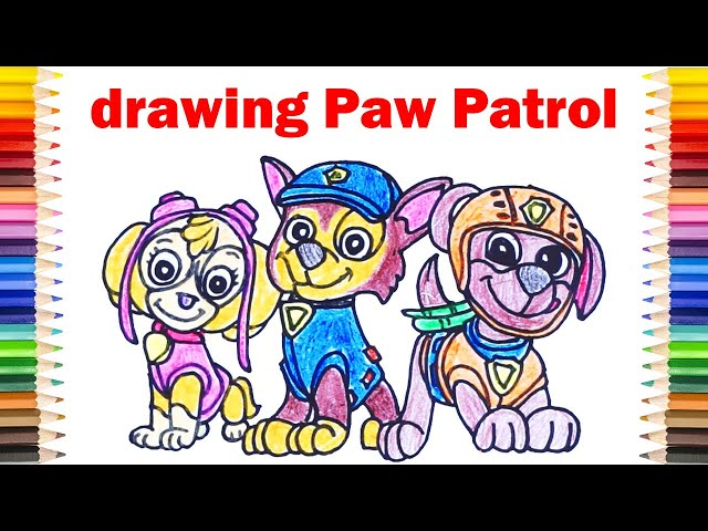 [Cute] DRAW PAW PATROL - Step by Step to Drawing and Coloring
