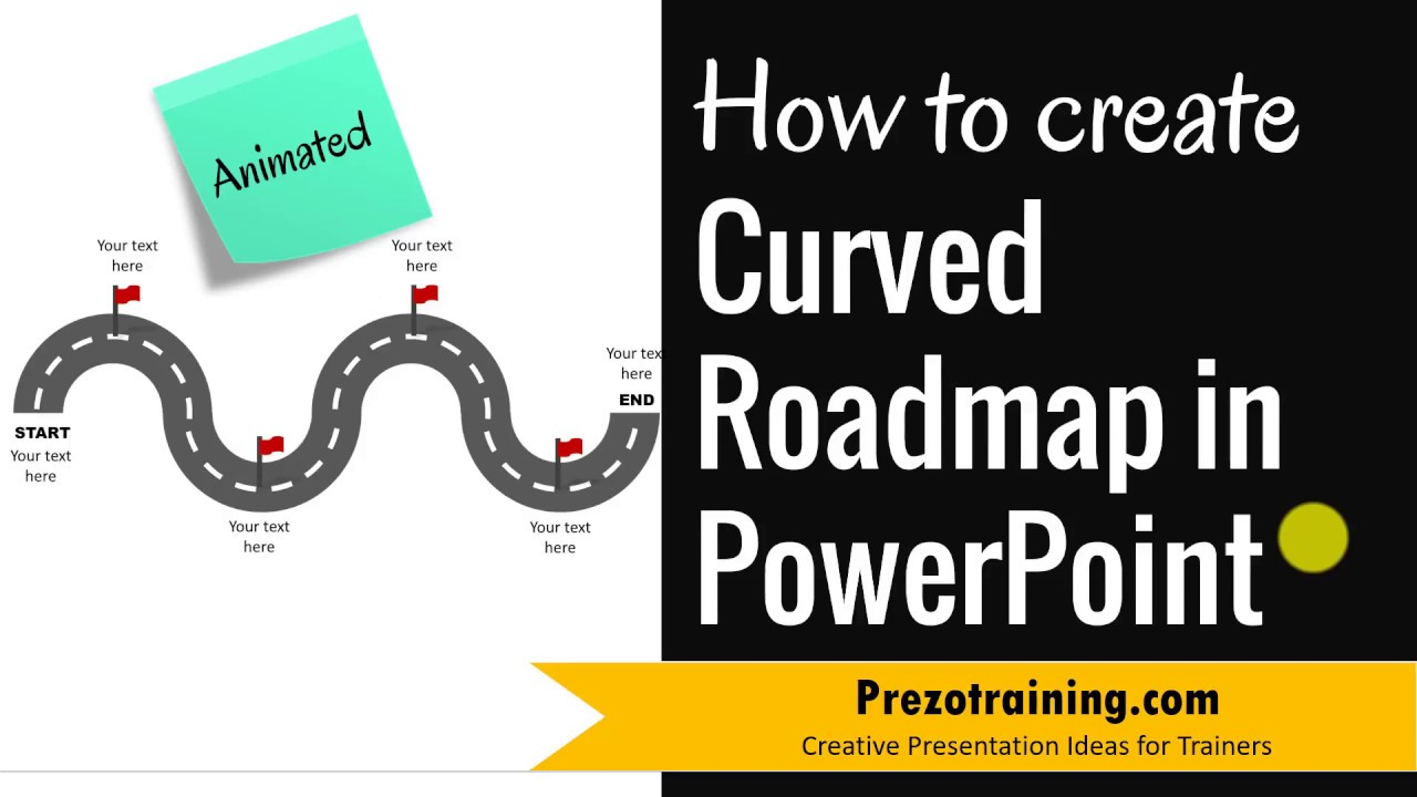 how to create curved roadmap in powerpoint animated youtube