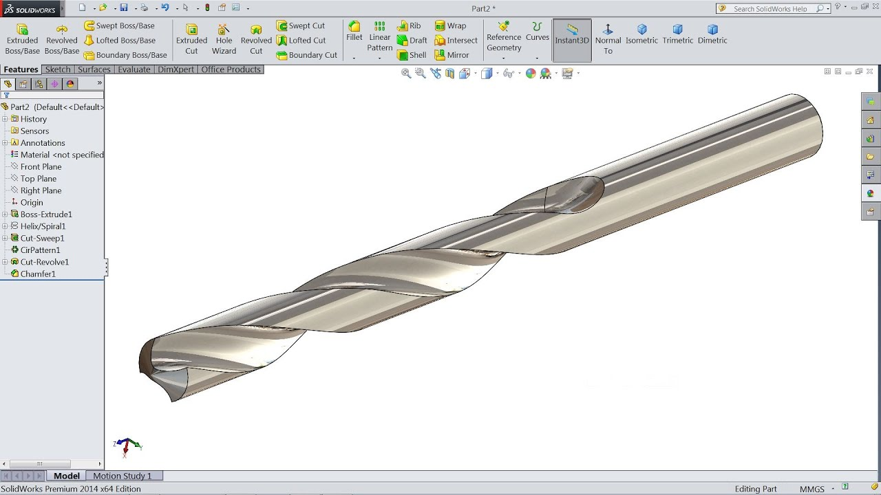 Solidworks tutorial how to make drill bit youtube for Design table not working solidworks