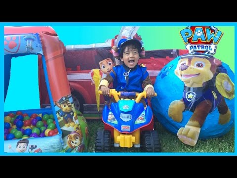 PAW PATROL TOYS Nickelodeon GIANT EGG SURPRISE OPENING Kids Video Power Wheels