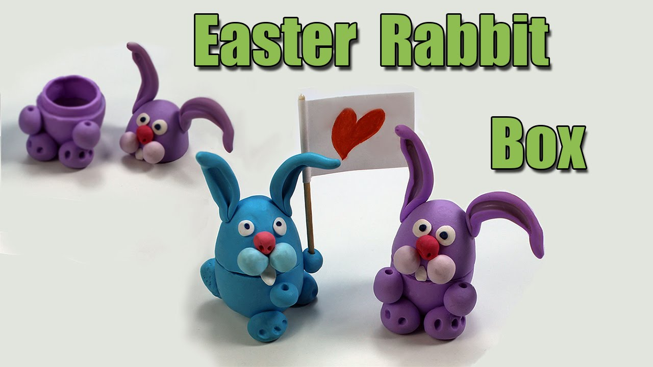 Easter rabbit gift box diy polymer clay tutorial youtube negle Image collections