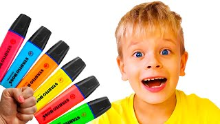Dima pretends to play with his Magic Pen - Preschool toddler learn color