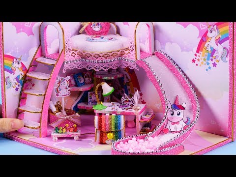 DIY Miniature Dollhouse ~ Unicorn bedroom decor , backpack and more! #85