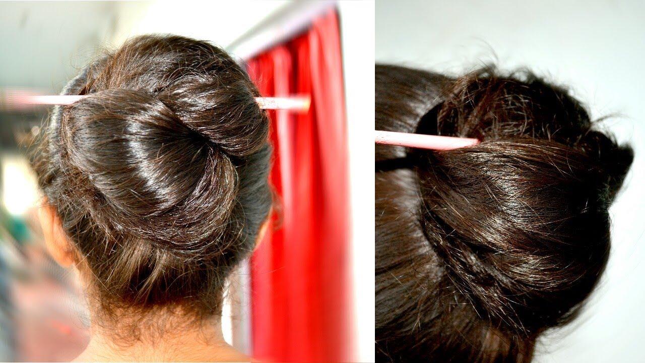 f43b46da0 1 min hair bun ... HOW TO USE A HAIR CHOPSTICK or stick - YouTube