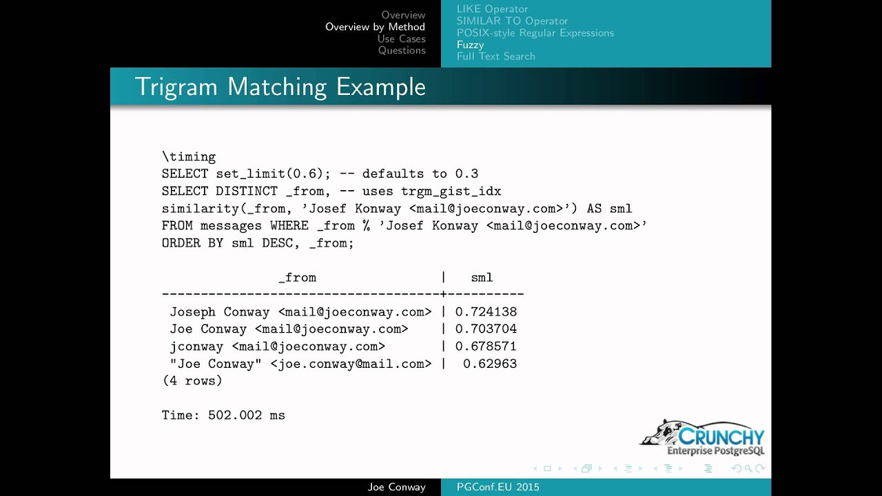 Text search and pattern matching in PostgreSQL :SDPUG @ CARI net