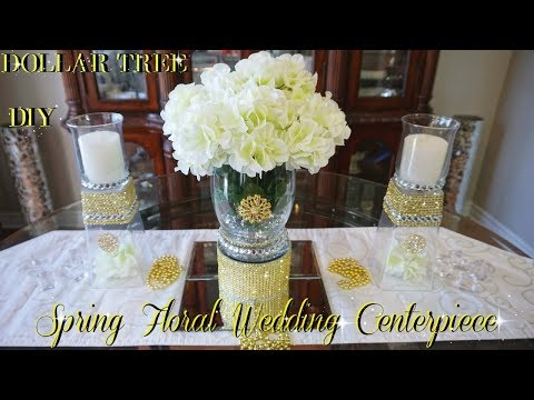 DOLLAR TREE DIY | WEDDING FLORAL CENTERPIECE | DIY WEDDING DECOR | FT.  TOTALLY DAZZLED BLING GEMS