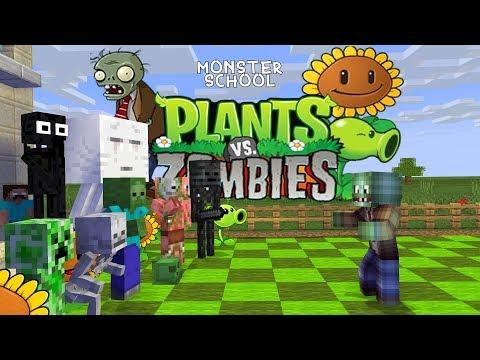 Monster School: Plants Vs Zombies Challenge - Minecraft Animation