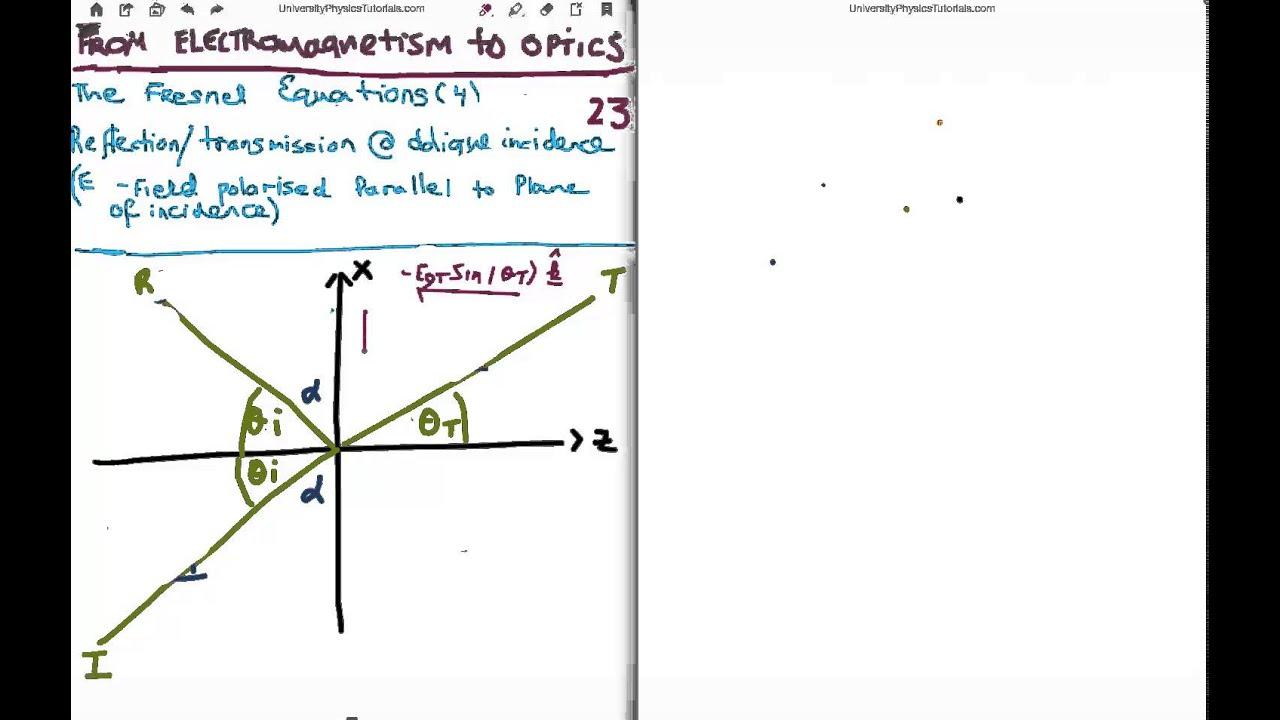 Em to optics 23 fresnel equations 12 youtube em to optics 23 fresnel equations 12 pooptronica Gallery
