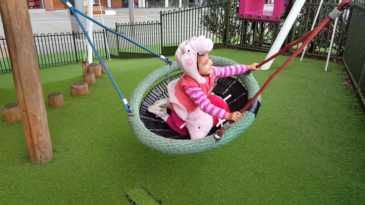 playing in the park playground for kids pink car peppa pig slide youtube