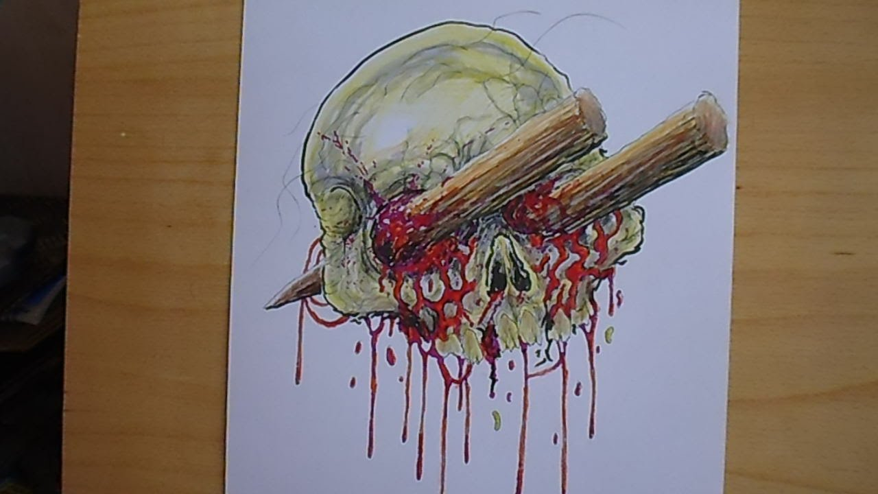 Drawing A Bloody Horror Skull Youtube